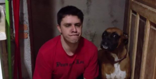 guy imitates his dog